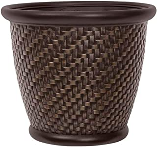 "product image for Suncast 1807J4 TRV174255 18"" x 16.5"" Resin Planter-Lightweight Contemporary Flower Po, Dark Brown"