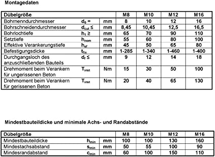 M10 x 100 mm V4 Edelstahl Schwerlastanker M6 M20 Keilanker Schwerlastd/übel Bolzenanker