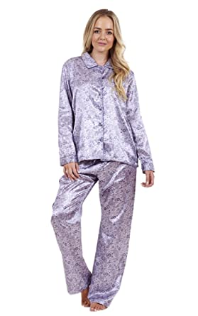 ea5968c18a Ladies Stunning Printed Satin Pyjamas Womens Long Sleeve Nightwear Silk PJ S