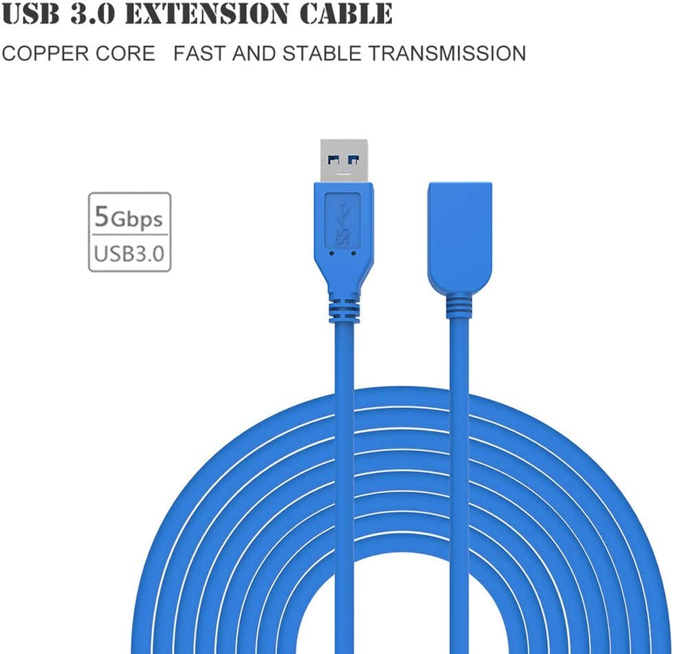 Alician Blue USB 3.0 Extension Line Male to Female Quick Speed Cable Connector for USB Thumb Drives Keyboard Mouse 5 Meters Electronic Accessories