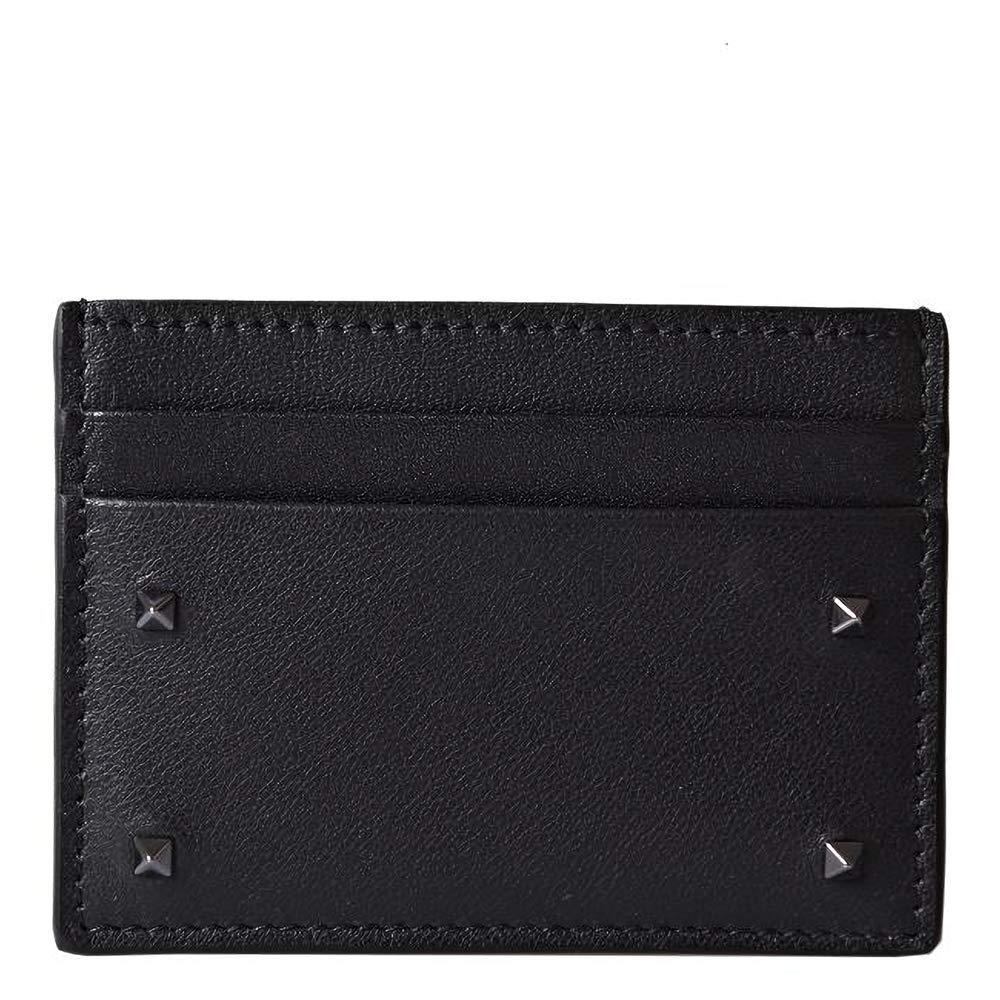 [ヴァレンティノ] [VALENTINO] メンズ ロックスタッズ カードケース 定期入れ 名刺入れ ブラック [並行輸入品] B07GP71ZPH  One Size