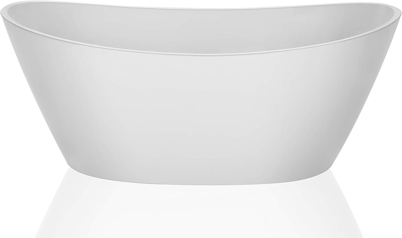 Empava Made in USA 67 Inch Luxury Freestanding Bathtub Acrylic Soaking SPA Tub FT1518W, F1518, Glossy White