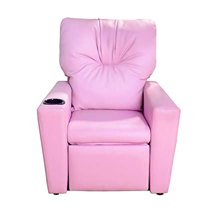 Contemporary Deluxe Kids Recliner Mini Sofa Pink Armchair Couch Children PU Lounge  Chair Living Room Bedroom