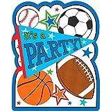 "Amscan 491292 Party Invitation, Sports Party Postcard Invitations, Multicolor, 4"" x 5"", 8ct"