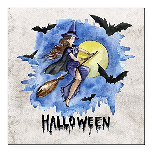 [Square Car Magnet 3 x 3 Inch Halloween Witch Riding Broom Bats] (Makeup For A Bat Costume)