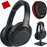 Sony WH1000XM3 Premium Noise Cancelling Wireless Bluetooth Headphones with Built in Microphone WH-1000XM3/B Black + Deco Gear Premium Hard Case + Pro Audio Headphone Stand + Microfiber Cleaning Cloth