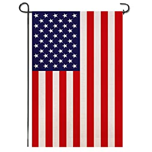 Shmbada Burlap American 4th of July Garden Flag, United States Stars and Stripes Patriotic US Garden Flag, Double Sided, Perfect Decor for Outdoor Yard Porch Patio Farmhouse Lawn, 12 X 18 Inch