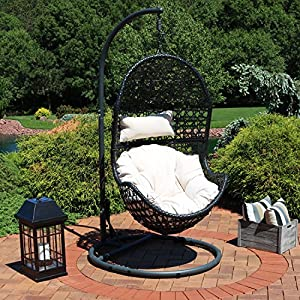 Sunnydaze Cordelia Hanging Egg Chair with Steel Stand Set – Resin Wicker Porch Swing – Large Basket Design Patio Swing- Outdoor Lounging Chair – Includes Beige Cushion and Headrest