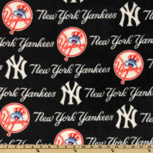(Fabric Traditions MLB Fleece New York Yankees Fabric by The Yard, Blue/Red/White)