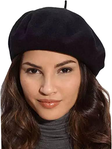 Gllutt Klong Women Wool Beret Hat French Style Solid Color, Black, Size  Free Size at Amazon Women's Clothing store