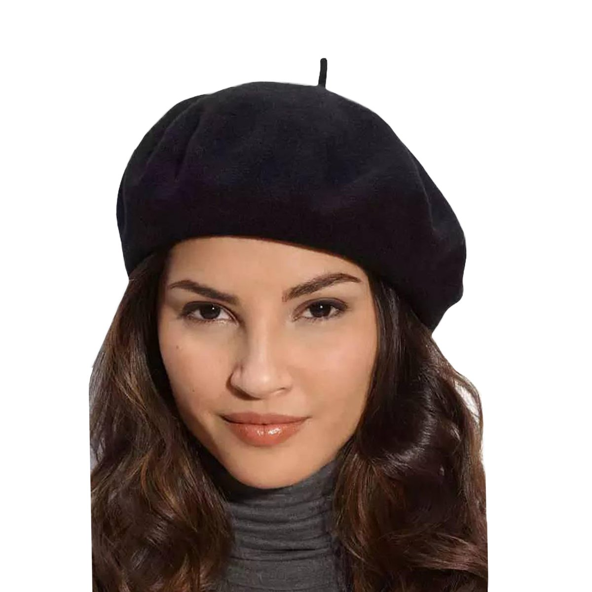 Klong Women Wool Beret Hat French Style Solid Color (Black)