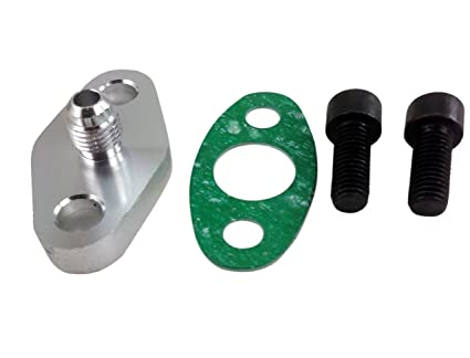 MotoMavens Turbo Oil Feed Inlet Flange Gasket Adapter Kit 4AN 4 AN Fitting  T3 T3/T4 T04 T4