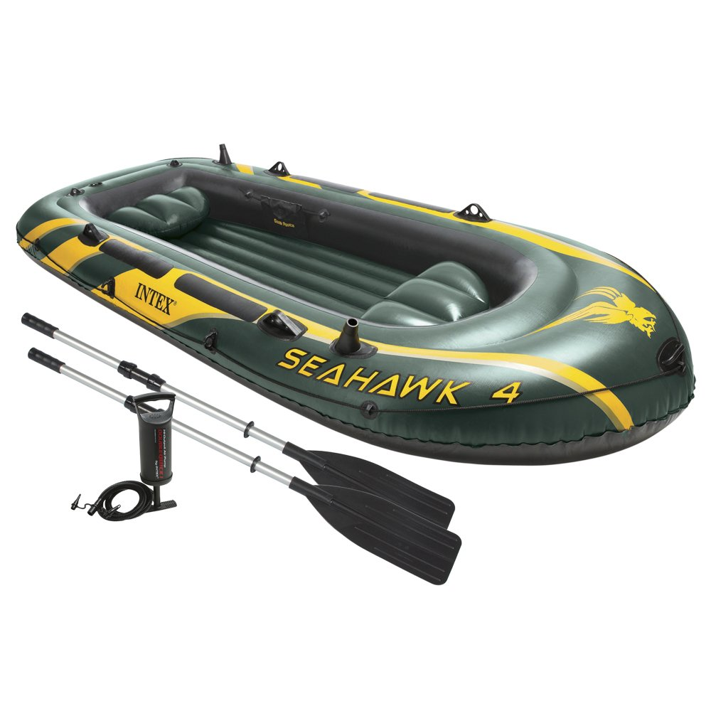 Intex Seahawk 4, 4-Person Inflatable Boat Set with Aluminium Oars and High Output Air Pump