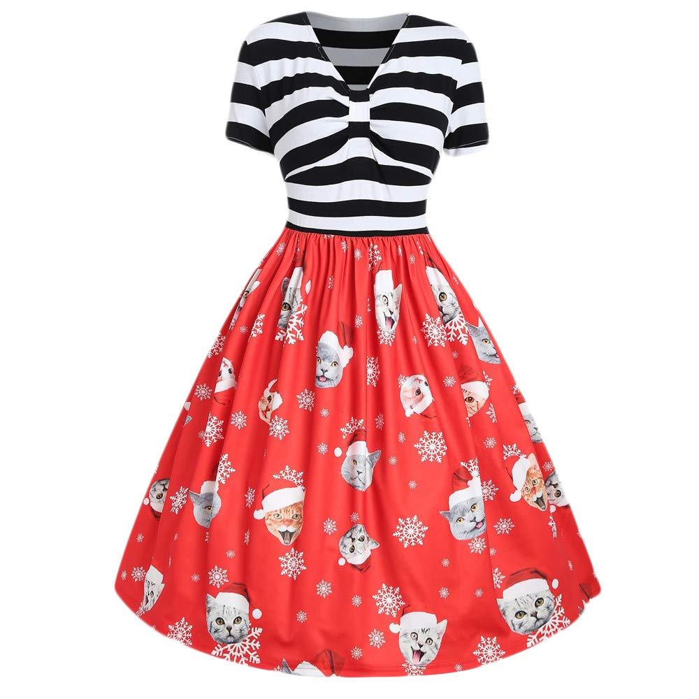 Hirolan Damen Weihnachtskleid Fröhliche Weihnachten Kitty Weihnachtsmütze Drucken Abend Party Dress Kleid Mode Chic Ausgestelltes Elegant Midikleid