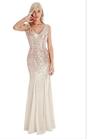 Blossoms Goddiva Champagne Gold Sequin Chiffon Inserts Long Full Length Maxi Evening Dress Prom Party: Amazon.co.uk: Clothing