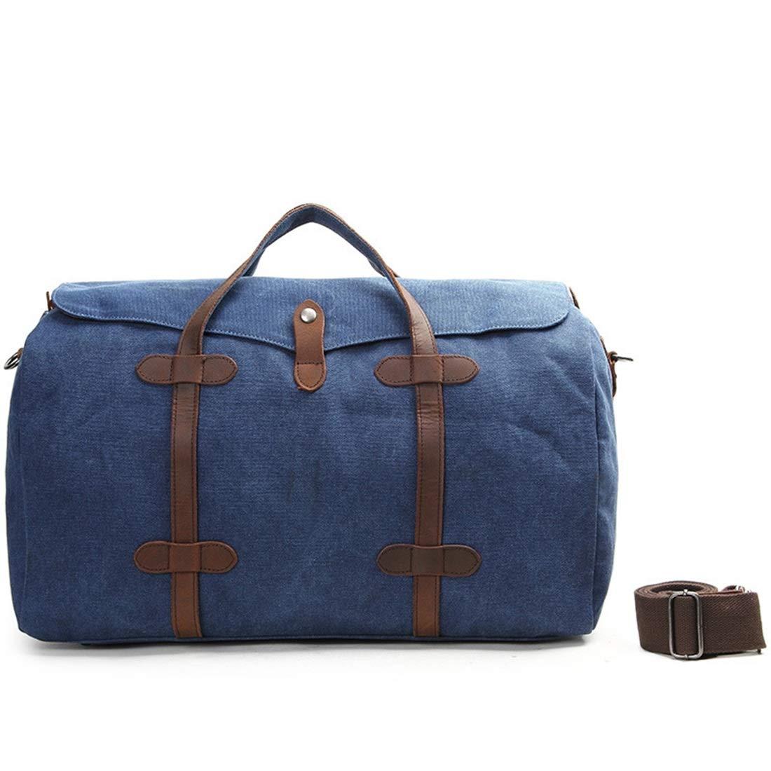 Linannau ハンドメイドキャンバススローン手荷物バッグメンズハンドトラベルバッグウィークエンドバッグ大容量 (Color : Royal blue) B07MMGM2YD Royal blue