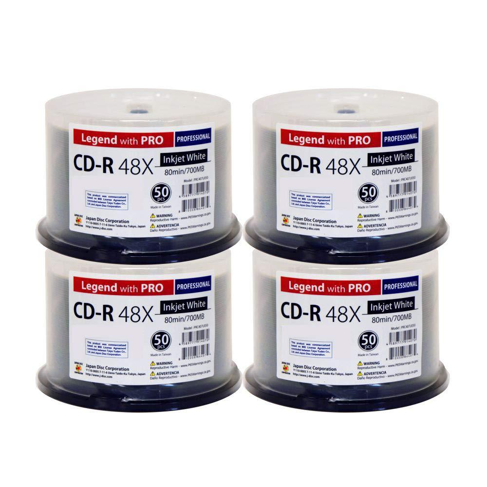 200 スピンドル CD-R レジェンド プロ JDC TY 48X 700MB 80分 ホワイト インクジェットハブ 印刷可能 ブランク 記録可能ディスク B07MG72CN6