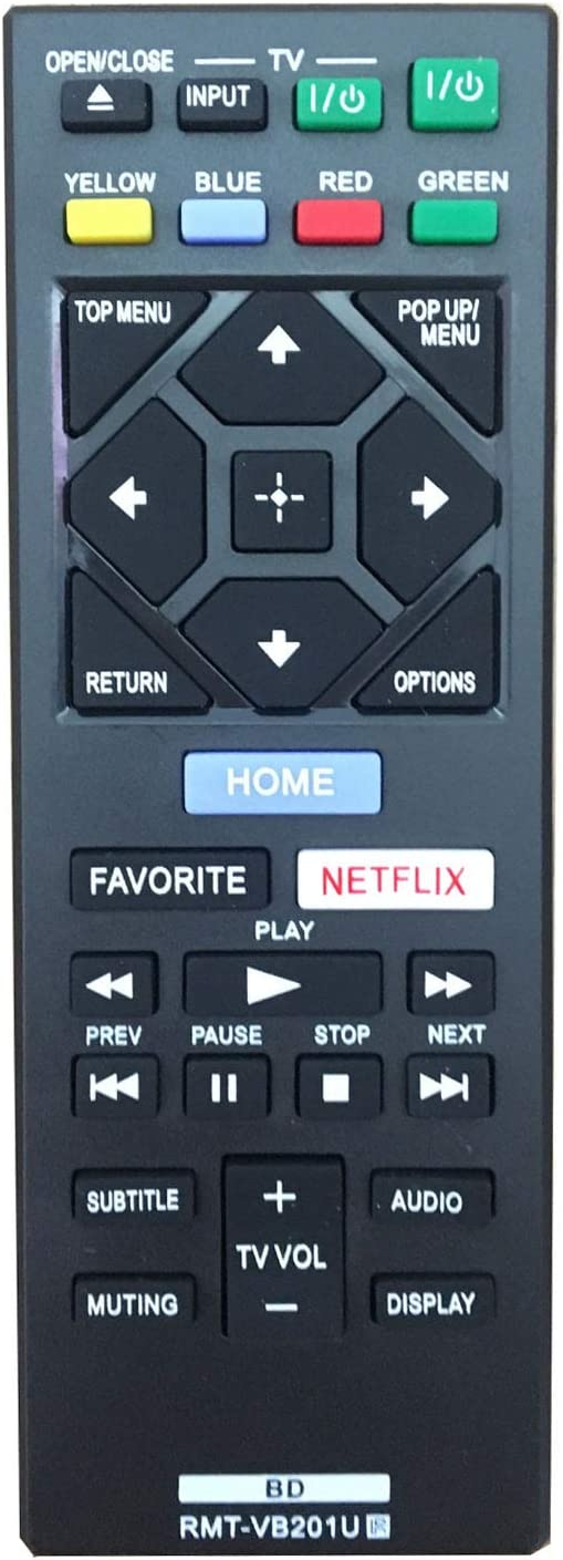 RMT-VB201U Replace Remote Control fit for Sony Blu-Ray BD Disc DVD Player BDP-BX370 BDP-S1700 BDP-S3700 BDP-S6700 UBP-X700 - No Setup Required Universal Remote Control