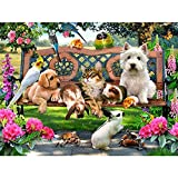 Leezeshaw 5D DIY Diamond Painting by Number Kits Fameless Rhinestone Embroidery Paintings Pictures for Home Decor - Pets 80x70cm