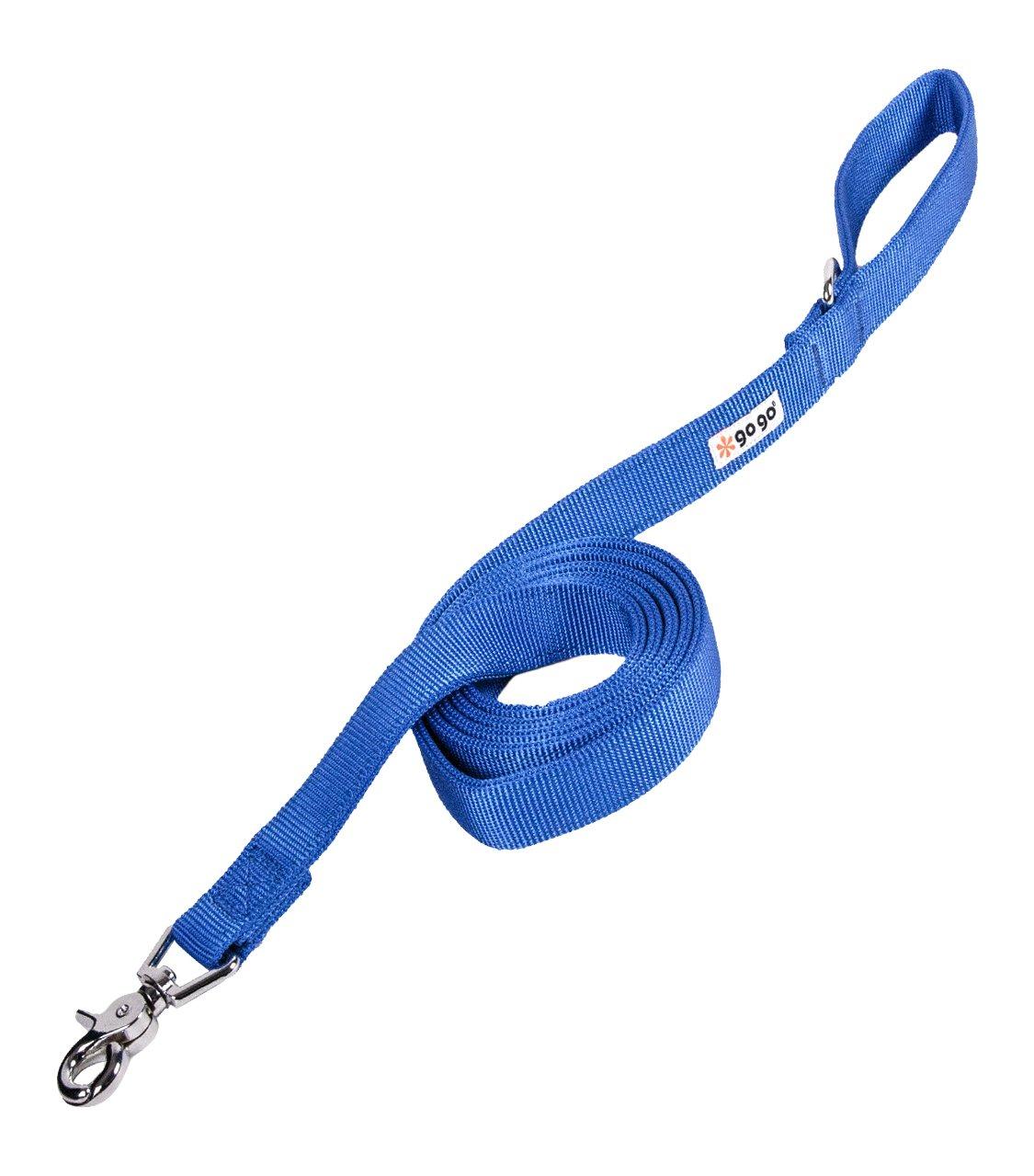 GoGo Pet Products 1-Inch Wide Comfy Nylon Dog Leash, 6-Feet Long, Blue