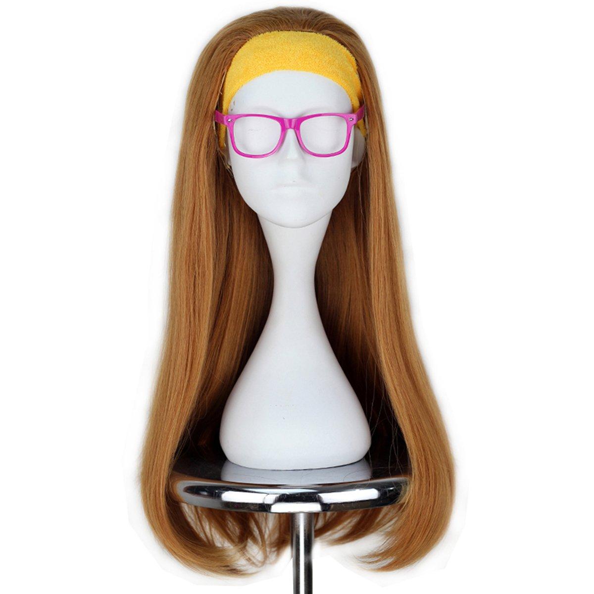 Miss U Hair Girl Long Wavy Light Orange Cosplay Costume Wig with Yellow Hairband Glass