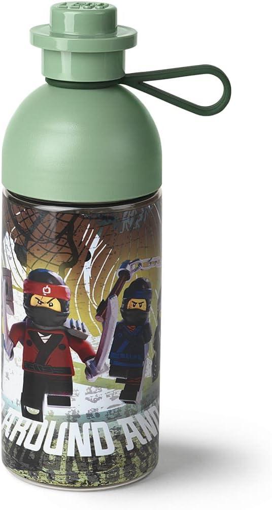 LEGO NINJAGO Movie Drinking Bottle, Water/Hydration Bottle, 500 ml, Fill with ice, Sand green