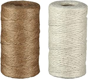 thanksky 656Feet Natural Jute Twine String Rolls for Gift Wrapping, 2mm 3Ply Christmas Twine String for Crafts,Gardening and Wedding Decor (656Ft-Brown+Beige)