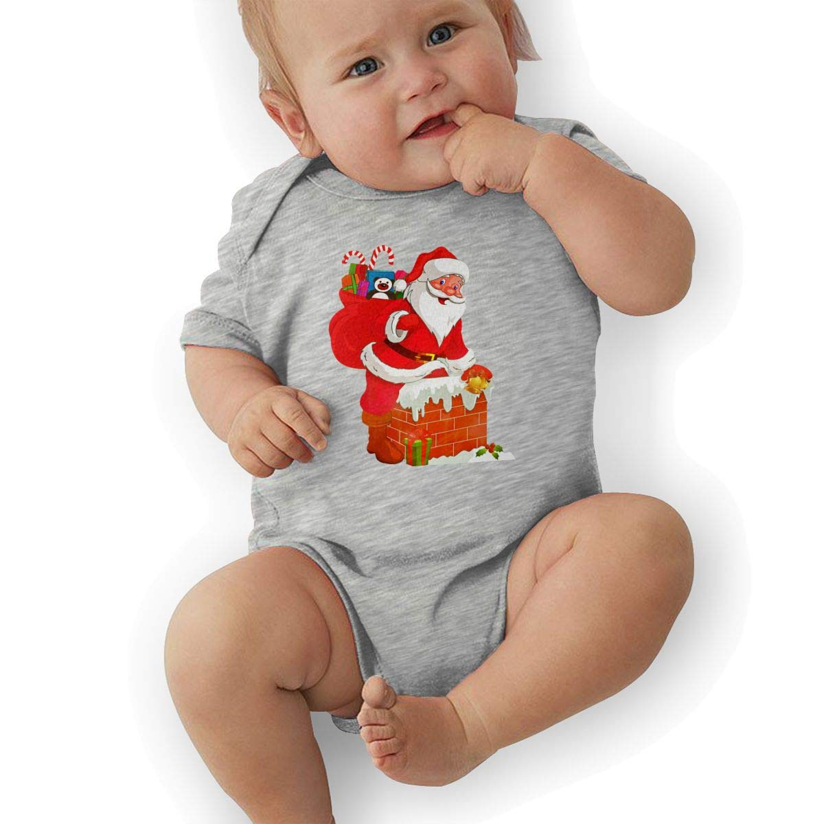 Newborn Baby Girls Bodysuit Short-Sleeve Onesie Santa Claus Climb Into The Chimney Print Rompers Summer Pajamas