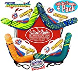 Toysmith 13.5'' Soft Outdoor Bright Color Boomerangs Gift Set Party Bundle with Exclusive Matty's Toy Stop Storage Bag - 4 Pack