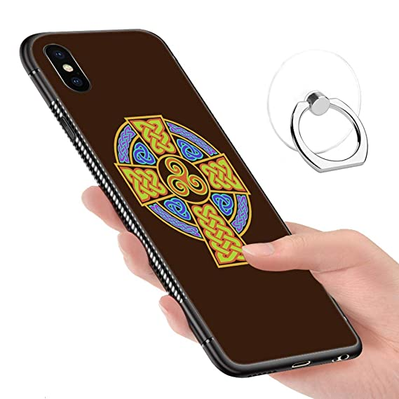 separation shoes 8b8e9 10f41 iPhone XR Case,Tempered Glass Pattern Painted Irish Celtic Cross Bumper  Cover for iPhone XR