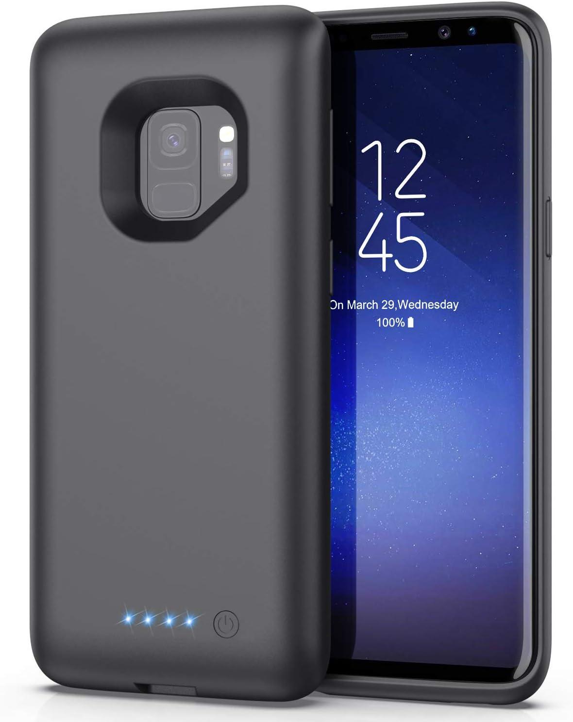 Trswyop Funda Batería para Samsung Galaxy S9, 6000mAh Funda Cargador Portatil Carga Rapida Carcasa Batería Recargable Batería Externa para S9 [5,8 Pulgadas]