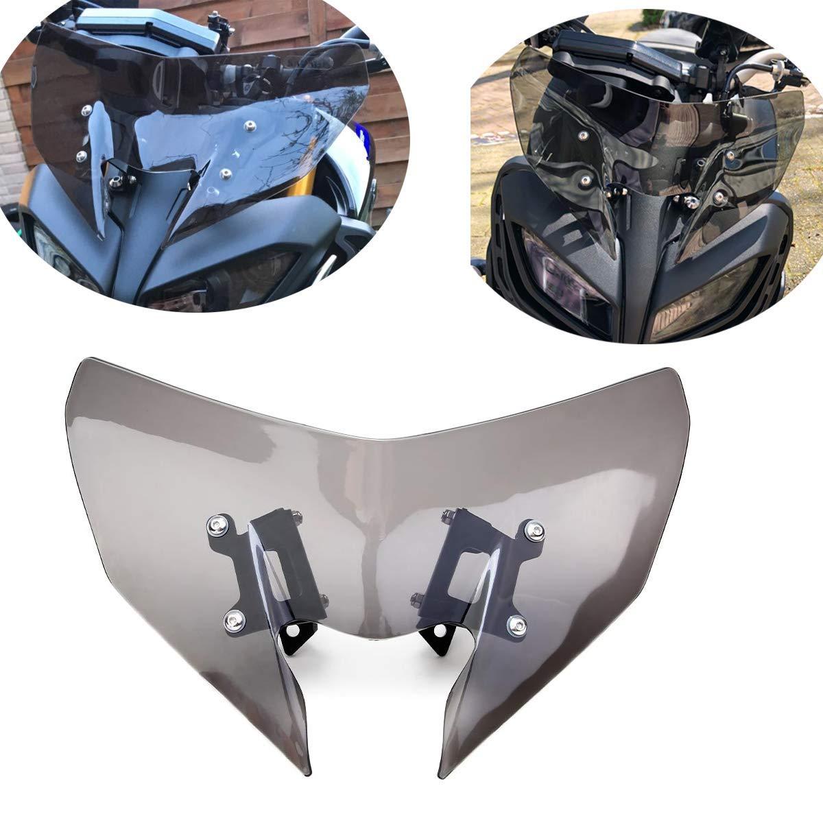 MT09 MT-09 Windschild Motorrad Windschutzscheibe Verkleidungsscheibe Besseren Windschutz f/ür Schutz des K/ühlers Kompatibel mit MT 09 MT09 MT-09 FZ09 FZ-09 2017-2019