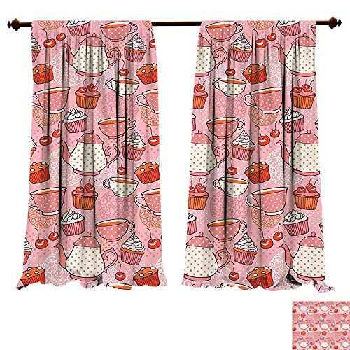Jumbo Red Cup Cherry - Blackout Living Room/Bedroom Window Curtains Cartoon Teapots Cups with Polka Dots Patterns Cherries Cakes Tea Coffee Pattern Pink Orange and Red Blackout 2 Panels (W72 x L96 -Inch 2 Panels)