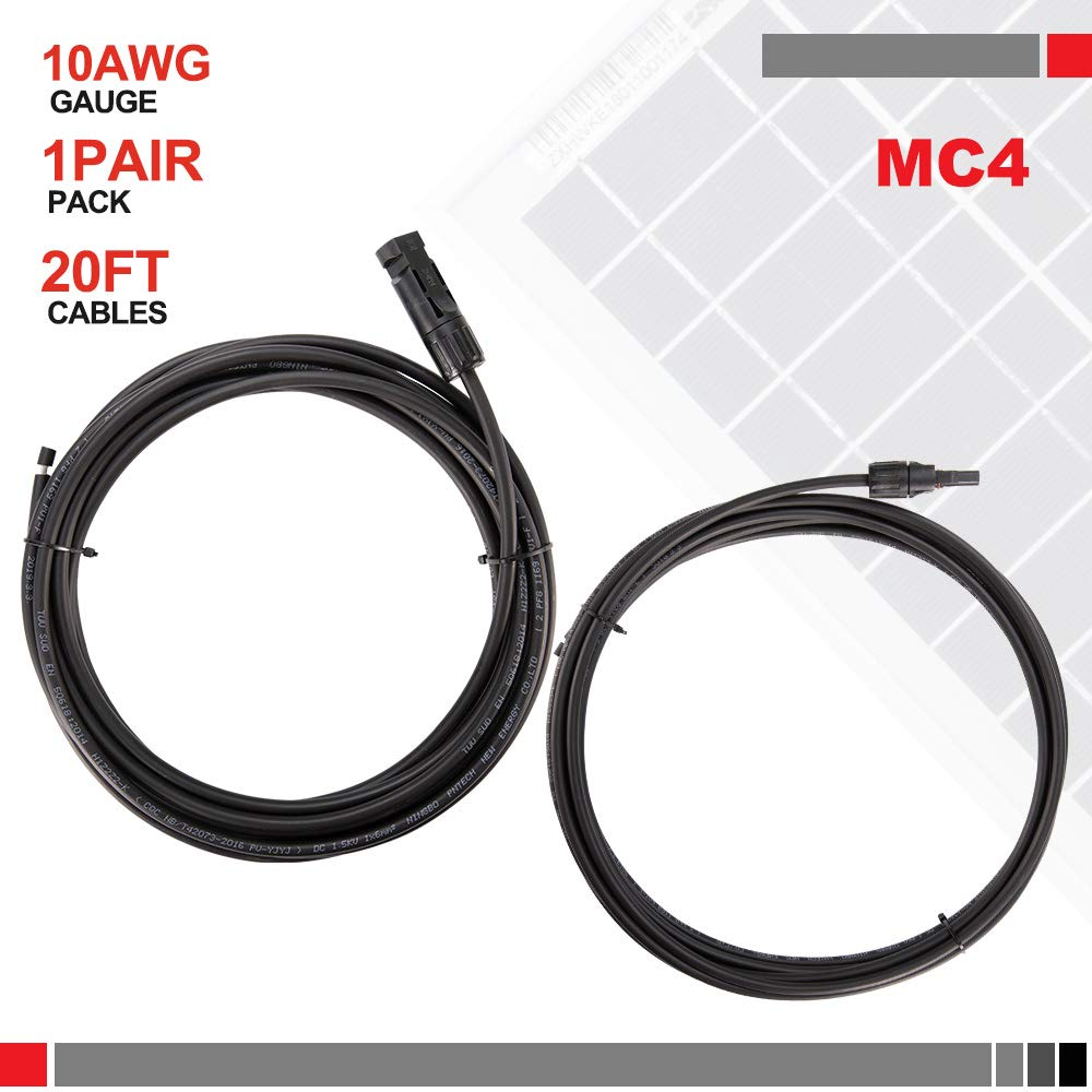 BUNKER INDUST 1 Pair Solar Extension Cable,20 Feet 10AWG Solar Panel Controller Connector Adaptor Wire with MC4 Female and Male Connectors,Black