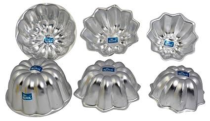 Rolex Aluminium Jelly CupCake Muffin Mould Sun Flower Set of 6 (2x3) S