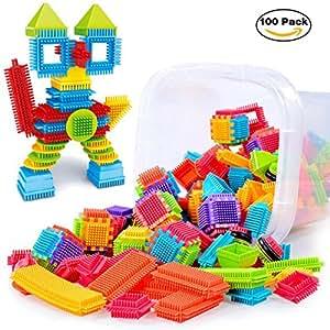 Sannysis 3D Bristle Shape Building Blocks Tiles Construction Playboards Toddlers Kids Toys (100Pcs)