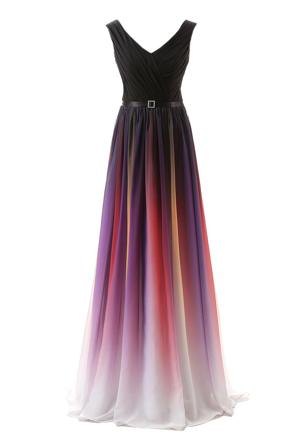 Belle House Women's Chiffon V Neck Gradient Color Prom Dresses 2018 Long A Line Formal Evening Dresses,341-black,8