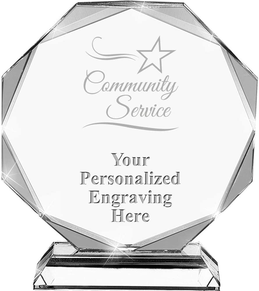 6.75 Custom Service Award with Engraving Included Community Service Crystal Awards