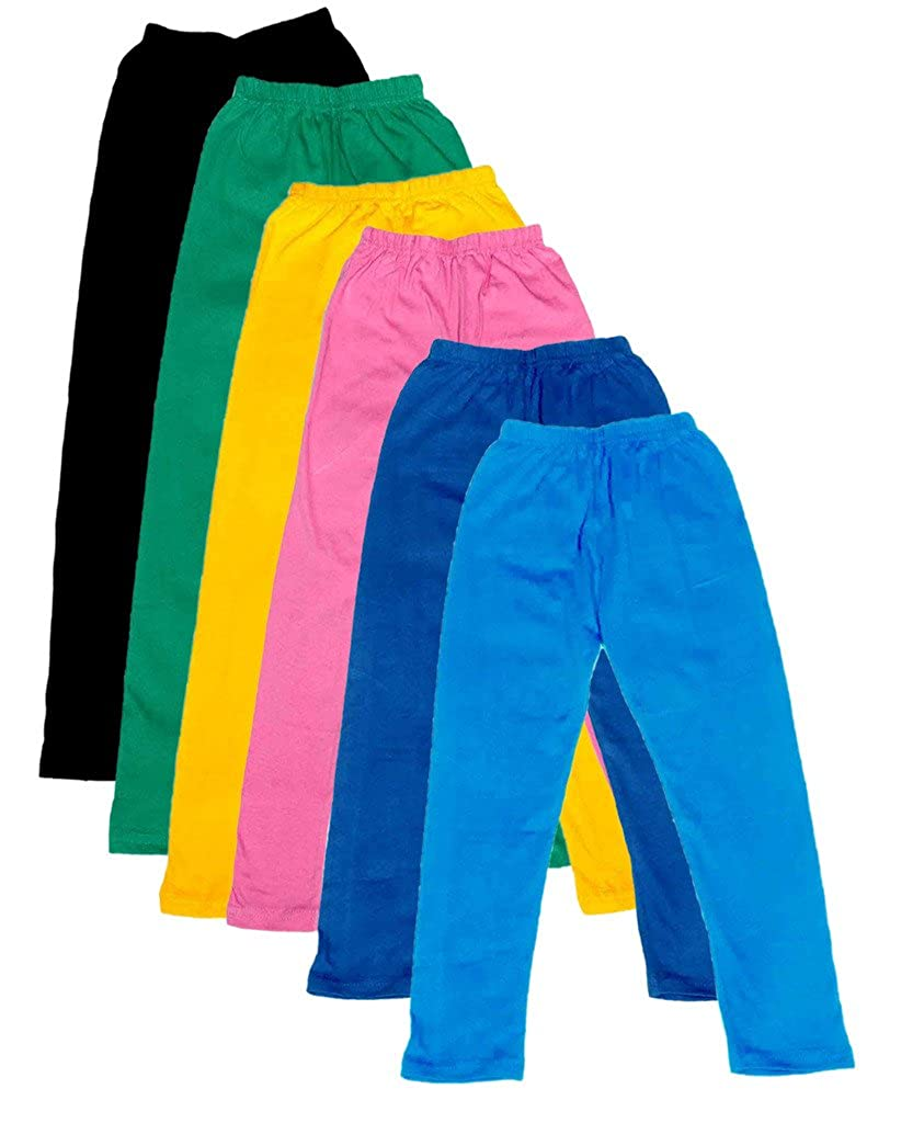 -Multiple Colors-3-5 Years Indistar Little Girls Cotton Full Ankle Length Solid Leggings Pack of 6