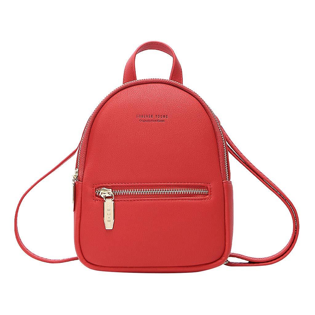 Ganenn Women's Fashion Colorful Leisure Messenger Bag Mini Bag Multifunction Backpack School Travel Bag (Red)