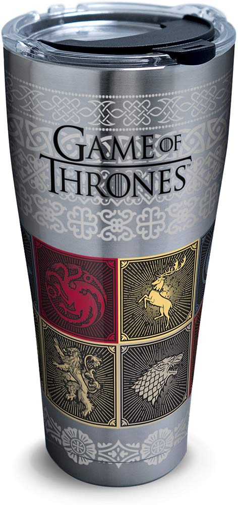 Tervis 1325310 HBO Game of Thrones - House Sigils Insulated Travel Tumbler & Lid, 30 oz - Stainless Steel, Silver