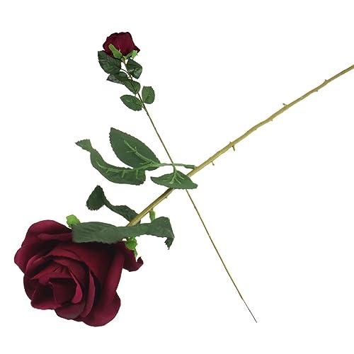Single stem artificial silk flowers amazon single eco rose stem silk artificial silk flowers funeralburgundy mightylinksfo
