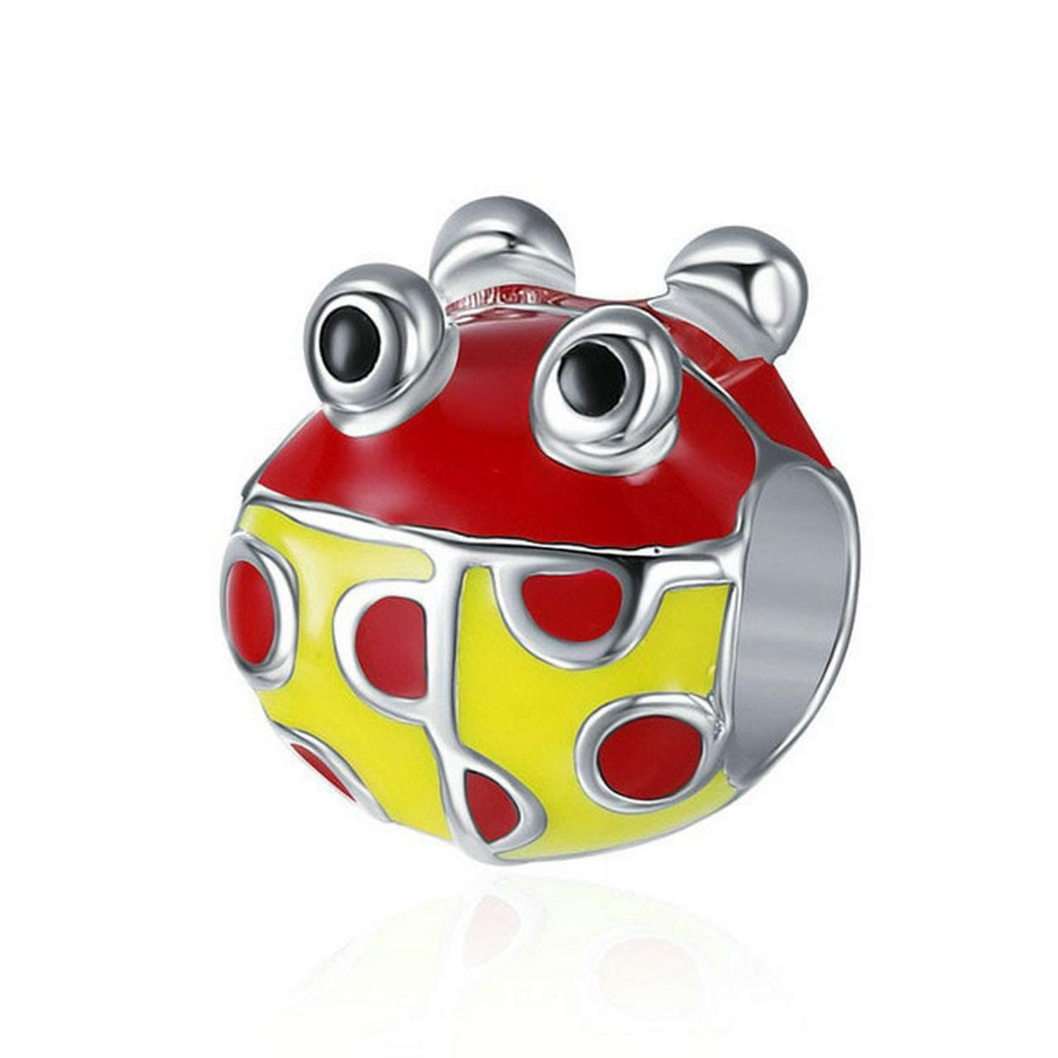 EverReena Cute Colorful Red Yellow Ladybug Silver Beads Bracelets