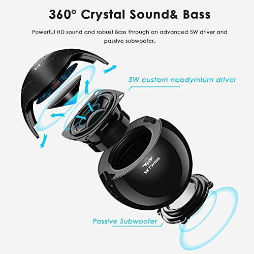 Portable Case Included SKYWING SoundAce Portable 5W Bass Bluetooth Speaker, 15H Music, Crystal Sound, LED Light Show, Perfect Mini Wireless Speaker for Phone Tablet Boys Gift Hiking BBQ, Black