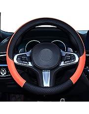 SHIAWASENA Car Steering Wheel Cover, Leather, Universal 15 Inch Fit, Anti-Slip & Odor-Free (Black&Orange)