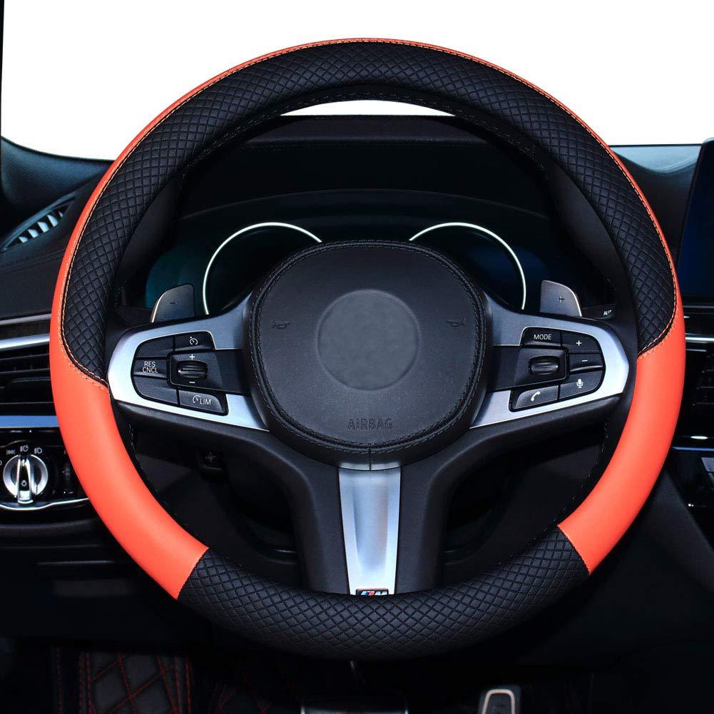 SHIAWASENA Car Steering Wheel Cover, Genuine Leather, Universal 15 Inch Fit, Anti-Slip & Odor-Free (Black&Orange)