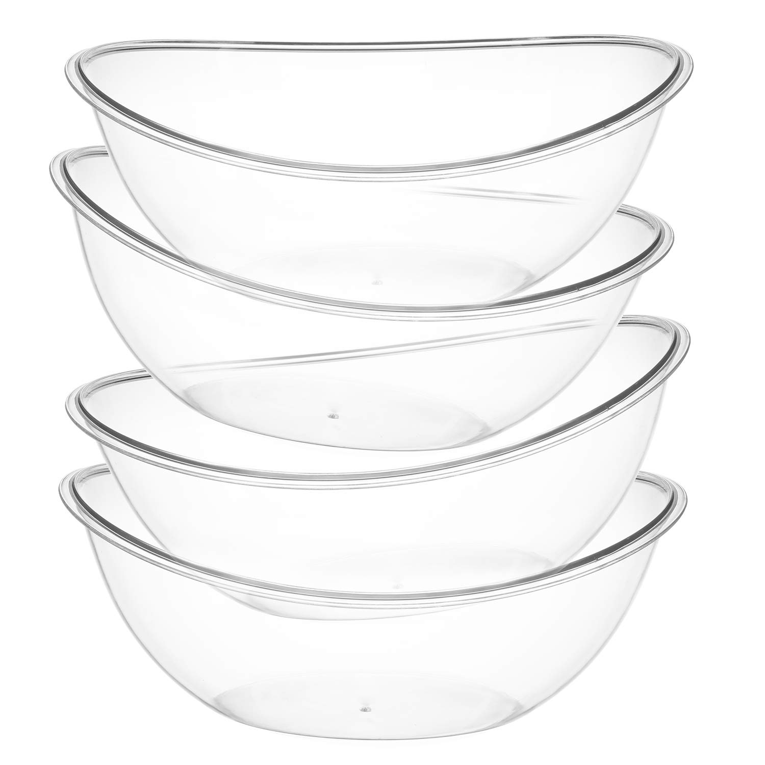 ChefCity Set of 4 – Oval Plastic Serving Bowls – Party Snack or Salad Disposable Bowl, 80-Ounce,