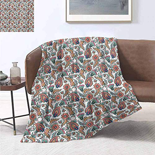 jecycleus Paisley Commercial Grade Printed Blanket Classical Tribal Motifs with Flower Leafs and Other Ornamental Details Image Queen King W70 by L70 Inch Multi Colored