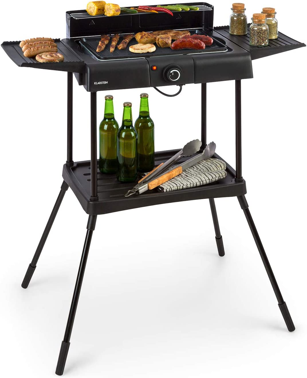 Klarstein Dr. Beef Pro barbacoa eléctrica - 1700-2000 W de potencia, concepto EasyGrill, superficie de aluminio antiadherente de 41 x 26 cm, dos mesas laterales, negro
