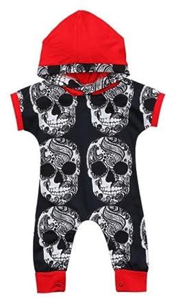 4081cc9c1 Amazon.com: Newborn Infant Boys Cool Skull Head Bone Print Hooded Romper  Halloween Jumpsuit Outfits: Clothing